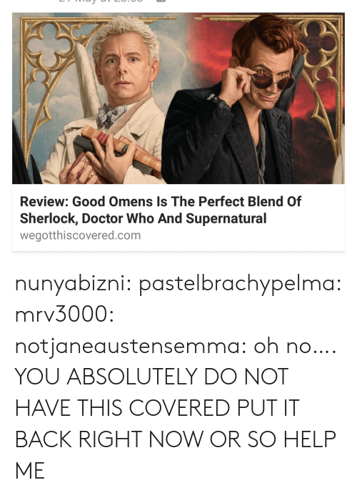 Doctor Who: Review: Good Omens Is The Perfect Blend Of  Sherlock, Doctor Who And Supernatural  wegotthiscovered.com nunyabizni:  pastelbrachypelma: mrv3000:  notjaneaustensemma: oh no….   YOU ABSOLUTELY DO NOT HAVE THIS COVERED PUT IT BACK RIGHT NOW OR SO HELP ME