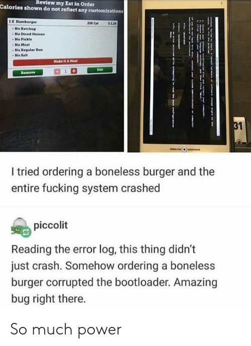 Fucking, Power, and Amazing: Review  my Eat in Order  Calories shown do not reflect any customizations  1X Hamburger  230 Cal$10  No Ketchup  -No Diced Onients  No Pickle  No Meat  No Regular Bu  -No Sat  I tried ordering a boneless burger and the  entire fucking system crashed  piccolit  Reading the error log, this thing didn't  just crash. Somehow ordering a boneless  burger corrupted the bootloader. Amazing  bug right there. So much power