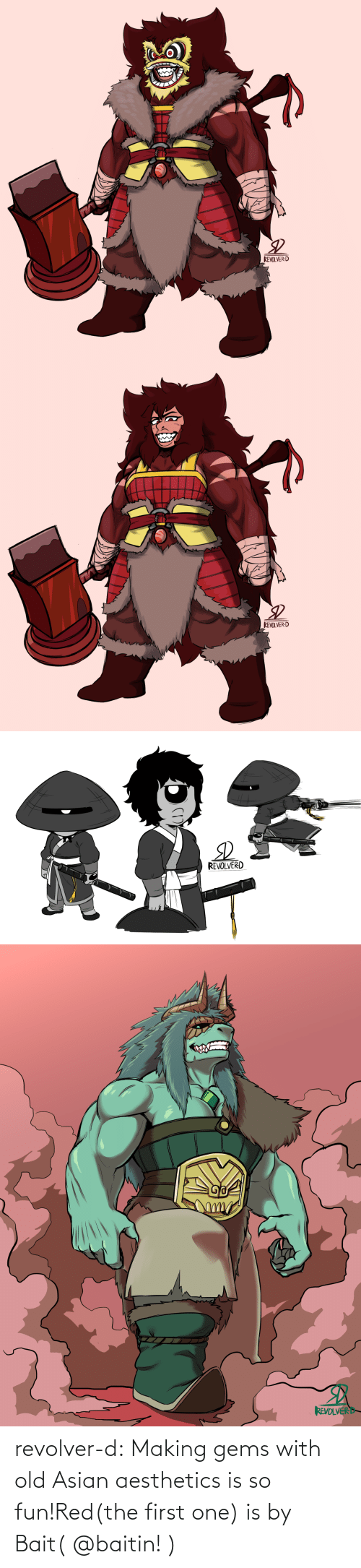one: revolver-d:  Making gems with old Asian aesthetics is so fun!Red(the first one) is by Bait( @baitin! )