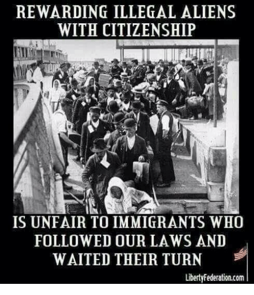 Illegal Aliens: REWARDING ILLEGAL ALIENS  WITH CITIZENSHIP  IS UNFAIR TO IMMIGRANTS WHO  FOLLOWED OUR LAWS AND  WAITED THEIR TURN  LibertyFederation.com