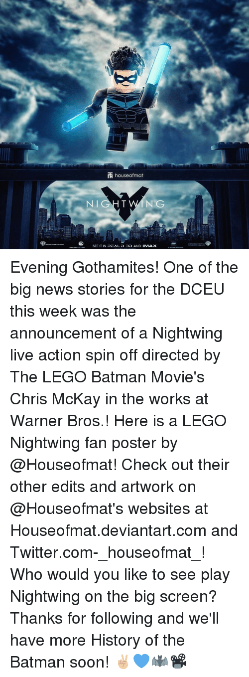 Batman, Memes, and Warner Bros.: rF houseofmat  NIGHT NG  SEE IT IN REAL D 3D AND IMMAX Evening Gothamites! One of the big news stories for the DCEU this week was the announcement of a Nightwing live action spin off directed by The LEGO Batman Movie's Chris McKay in the works at Warner Bros.! Here is a LEGO Nightwing fan poster by @Houseofmat! Check out their other edits and artwork on @Houseofmat's websites at Houseofmat.deviantart.com and Twitter.com-_houseofmat_! Who would you like to see play Nightwing on the big screen? Thanks for following and we'll have more History of the Batman soon! ✌🏼💙🦇📽