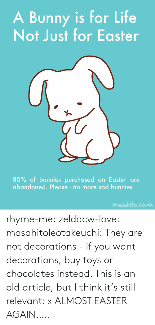 rhyme: rhyme-me:  zeldacw-love:  masahitoleotakeuchi:  They are not decorations - if you want decorations, buy toys or chocolates instead.  This is an old article, but I think it's still relevant: x  ALMOST EASTER AGAIN…..