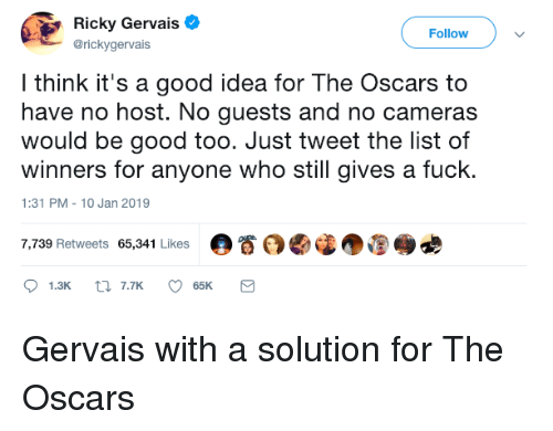 the oscars: Ricky Gervais  @rickygervais  Followv  l think it's a good idea for The Oscars to  have no host. No guests and no cameras  would be good too. Just tweet the list of  winners for anyone who still gives a fuck.  1:31 PM-10 Jan 2019  7,739 Retweets 65,341 Likes  。眷 Gervais with a solution for The Oscars