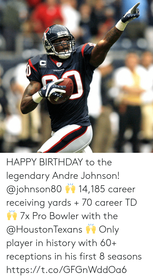Birthday, Memes, and Happy Birthday: RIddell  TEXANS HAPPY BIRTHDAY to the legendary Andre Johnson! @johnson80 🙌 14,185 career receiving yards + 70 career TD 🙌 7x Pro Bowler with the @HoustonTexans  🙌 Only player in history with 60+ receptions in his first 8 seasons https://t.co/GFGnWddOa6