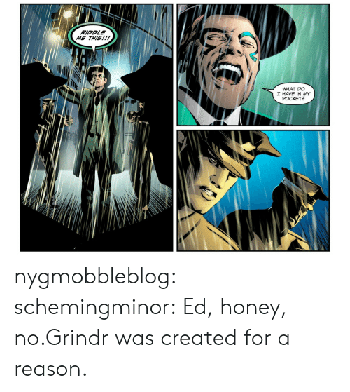 Grindr: RIDDLE  ME THIS!!!  WHAT DO  I HAVE IN MY  POCKET? nygmobbleblog:  schemingminor:  Ed, honey, no.Grindr was created for a reason.