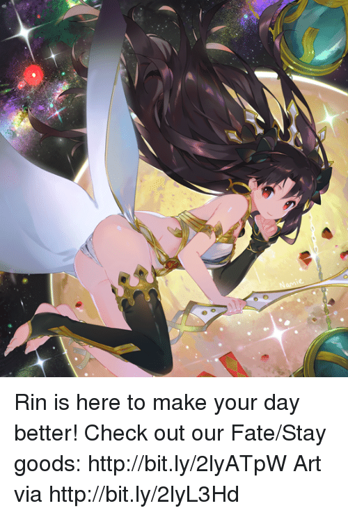 fate stay: Rin is here to make your day better! Check out our Fate/Stay goods: http://bit.ly/2lyATpW  Art via http://bit.ly/2lyL3Hd
