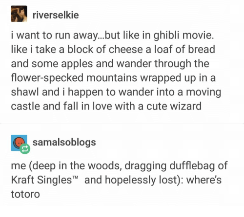 Cute, Fall, and Love: riverselkie  i want to run away...but like in ghibli movie.  like i take a block of cheese a loaf of bread  and some apples and wander through the  flower-specked mountains wrapped up in a  shawl and i happen to wander into a moving  castle and fall in love with a cute wizard  samalsoblogs  me (deep in the woods, dragging dufflebag of  Kraft SinglesT and hopelessly lost): where's  totoro