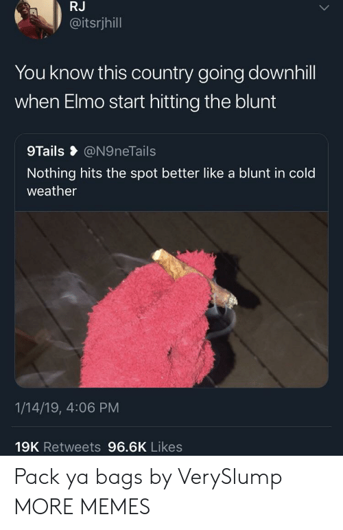 Dank, Elmo, and Memes: RJ  @itsrjhill  You know this country going downhill  when Elmo start hitting the blunt  9Tails @N9neTails  Nothing hits the spot better like a blunt in cold  weather  1/14/19, 4:06 PM  19K Retweets 96.6K Likes Pack ya bags by VerySlump MORE MEMES
