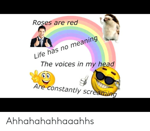 Funny, Head, and Life: Roşes are red  Life has no meaning  The voices in my head  Are constantly screaming Ahhahahahhaaahhs