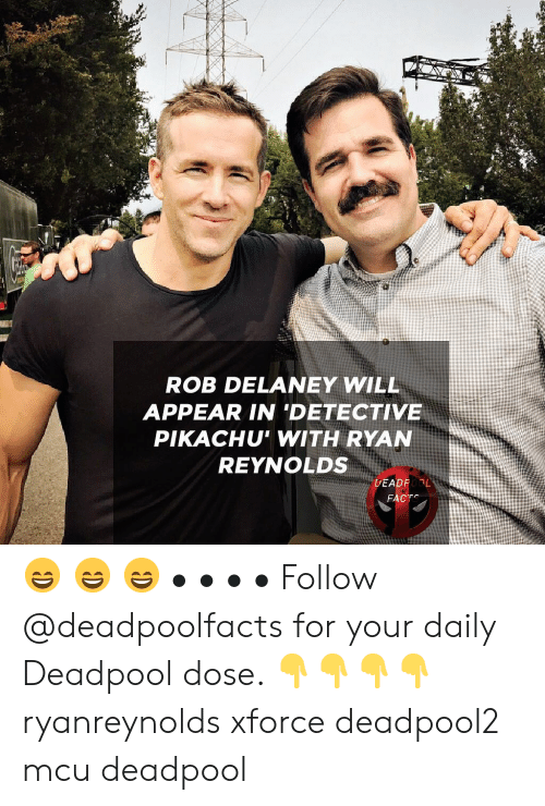Memes, Pikachu, and Deadpool: ROB DELANEY WILL  APPEAR IN 'DETECTIVE  PIKACHU' WITH RYAN  REYNOLDS  DEADFL 😄 😄 😄 • • • • Follow @deadpoolfacts for your daily Deadpool dose. 👇👇👇👇 ryanreynolds xforce deadpool2 mcu deadpool