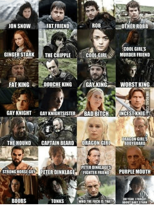 Fat Friend: ROB  JON SNOW  FAT FRIEND  OTHER ROBB  COOL GIRLS  GINGER STARK  THE CRIPPLE  COOL GIRL  MURDER FRIEND  FAT KING  DOUCHE KING  GAY KING  WORST KING  GAY KNIGHT  GAYKNIGHTSISTER  BAD BITCH  INCEST KNIG  DRAGON GIRLS  THE HOUND  CAPTAIN BEARD  DRAGON GIRL  BODYGUARD  PETER DINKLAGES  STRONGHORSE GUY PETER DINKLAGE  FIGHTER FRIEND  PURPLE MOUTH  OH YEAH, I FORGOT  WHO THE FUCK ISTHAT?  ABOUT BABY STARK  BOOBS  TONKS