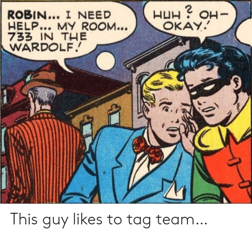 H H: ROBIN... I NEED  HELP... MY ROOM...  733 IN THE  WARDOLF  H H  OKAY.  -HO This guy likes to tag team…