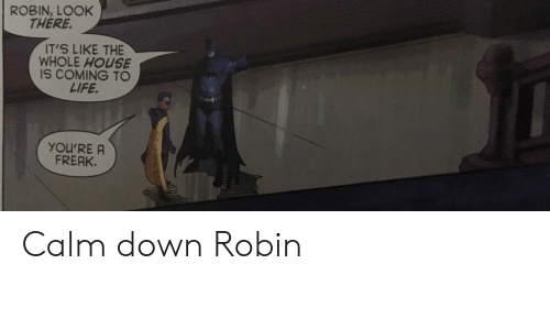Life, House, and Robin: ROBIN, LOOK  THERE.  IT'S LIKE THE  WHOLE HOUSE  IS COMING TO  LIFE.  YOU'RE A  FREAK. Calm down Robin