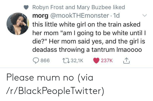 "Blackpeopletwitter, White Girl, and Girl: Robyn Frost and Mary Buzbee liked  morg @mookTHEmonster 1d  this little white girl on the train asked  her mom ""am I going to be white until I  die?"" Her mom said yes, and the girl is  deadass throwing a tantrum Imaoooo  t32,1K  866  237K Please mum no (via /r/BlackPeopleTwitter)"
