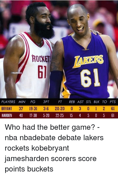 rockets: ROCKET  RS  61  61  NBAMENES  PLAYERS MIN FG 3PT FT REB AST STL BLK TO PTS  BRYANT 37 19-31 3-6 20-20 0 3 0 1 2 61  HARDEN 4 17-38 5-20 22-25 5 4 5 D 5 l Who had the better game? - nba nbadebate debate lakers rockets kobebryant jamesharden scorers score points buckets