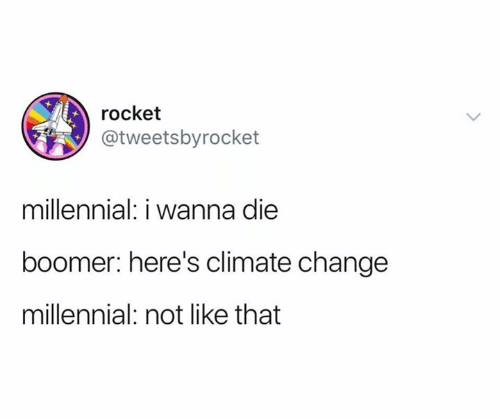 rocket: rocket  @tweetsbyrocket  millennial: i wanna die  boomer: here's climate change  millennial: not like that