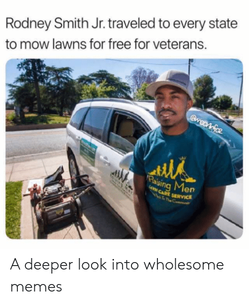 Memes, Free, and Wholesome: Rodney Smith Jr. traveled to every state  to mow lawns for free for veterans.  Gwootfoz  Paising Men  AVN CARE SERVICE A deeper look into wholesome memes