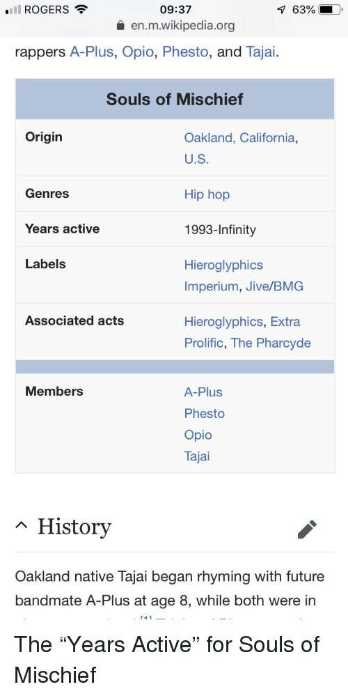 Funny, Future, and Wikipedia: ROGERS  09:37  63%  en.m.wikipedia.org  rappers A-Plus, Opio, Phesto, and Tajai  Souls of Mischief  Origin  Oakland, California,  U.S  Hip hop  1993-Infinity  Hieroglyphics  Genres  Years active  Labels  Imperium, Jive/BMG  Associated acts  Hieroglyphics, Extra  Prolific, The Pharcyde  Members  A-Plus  Phesto  Opio  Tajai  ~ History  Oakland native lajai began rhyming with future  bandmate A-Plus at age 8, while both were irn