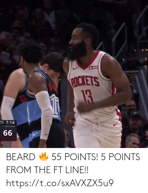 ROKiT: ROKIT  ROCKETS  13  TR 7:14  66 BEARD 🔥 55 POINTS! 5 POINTS FROM THE FT LINE!!   https://t.co/sxAVXZX5u9