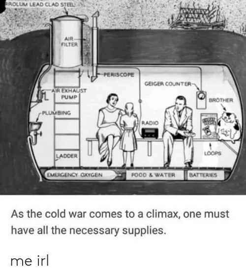 loops: ROLUM LEAD CLAD STEEL  AIR  FILTER  PERISCOPE  GEIGER COUNTER  AIR EXHAUST  PUMP  BROTHER  PLUMBING  RADIO  LOOPS  LADDER  EMERGENCY OXYGEN  FOOD &WATER BATTERIES  As the cold war comes to a climax, one must  have all the necessary supplies. me irl