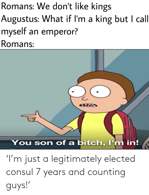 counting: Romans: We don't like kings  Augustus: What if I'm a king but I call  myself an emperor?  Romans:  You son of a bitch, I'm in! 'I'm just a legitimately elected consul 7 years and counting guys!'