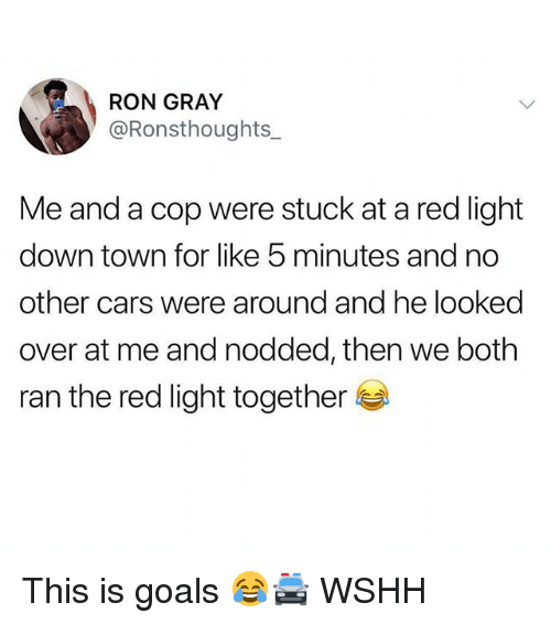 Cars, Goals, and Memes: RON GRAY  @Ronsthoughts  Me and a cop were stuck at a red light  down town for like 5 minutes and no  other cars were around and he looked  over at me and nodded, then we both  ran the red light together This is goals 😂🚔 WSHH