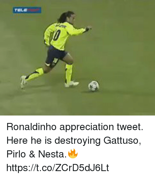 pirlo: Ronaldinho appreciation tweet. Here he is destroying Gattuso, Pirlo & Nesta.🔥 https://t.co/ZCrD5dJ6Lt