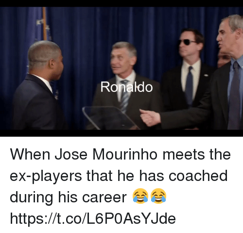 Soccer, Ronaldo, and José Mourinho: Ronaldo When Jose Mourinho meets the ex-players that he has coached during his career 😂😂 https://t.co/L6P0AsYJde