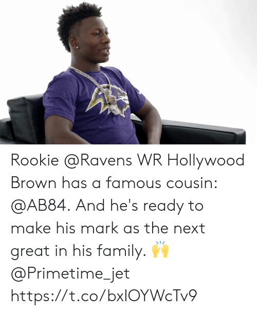 jet: Rookie @Ravens WR Hollywood Brown has a famous cousin: @AB84.  And he's ready to make his mark as the next great in his family. 🙌 @Primetime_jet https://t.co/bxIOYWcTv9