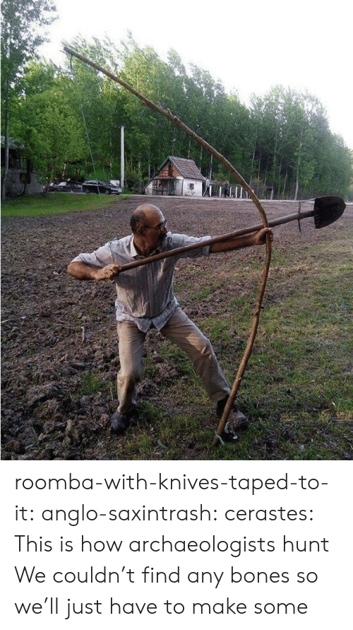 Hunt: roomba-with-knives-taped-to-it: anglo-saxintrash:  cerastes:   This is how archaeologists hunt   We couldn't find any bones so we'll just have to make some