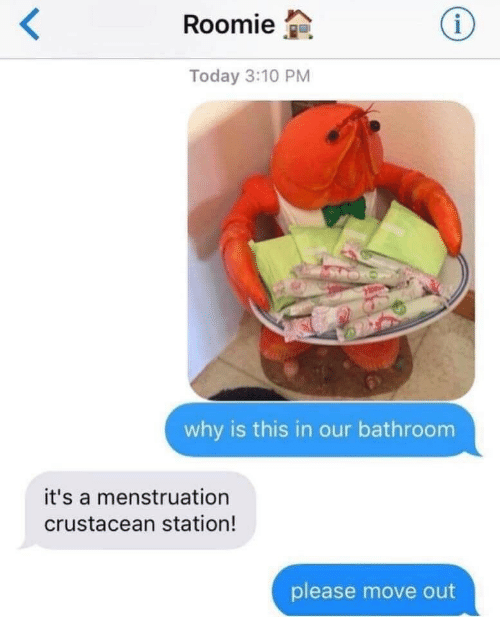 Move Out: Roomie  Today 3:10 PM  why is this in our bathroom  it's a menstruation  crustacean station!  please move out