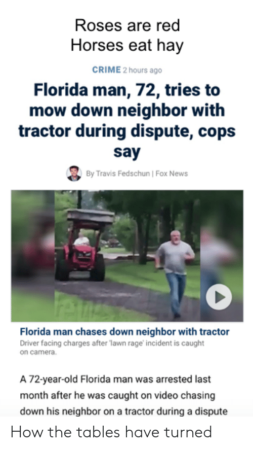 caught on camera: Roses are red  Horses eat hay  CRIME 2 hours ago  Florida man, 72, tries to  mow down neighbor with  tractor during dispute, cops  say  By Travis Fedschun | Fox News  Florida man chases down neighbor with tractor  Driver facing charges after lawn rage incident is caught  on camera.  A 72-year-old Florida man was arrested last  month after he was caught on video chasing  down his neighbor on a tractor during a dispute How the tables have turned