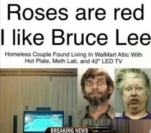 "meth: Roses are red  I like Bruce Lee  Homeless Couple Found Living In WalMart Attic With  Hot Plate, Meth Lab, and 42"" LED TV  001  BREAKING NEWS"