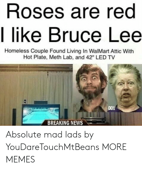 "meth: Roses are red  I like Bruce Lee  Homeless Couple Found Living In WalMart Attic With  Hot Plate, Meth Lab, and 42"" LED TV  001  BREAKING NEWS Absolute mad lads by YouDareTouchMtBeans MORE MEMES"
