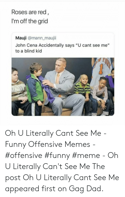 "gag: Roses are red,  I'm off the grid  Mauji @mann_maujii  John Cena Accidentally says ""U cant see me""  to a blind kid Oh U Literally Cant See Me - Funny Offensive Memes - #offensive #funny #meme - Oh U Literally Can't See Me The post Oh U Literally Cant See Me appeared first on Gag Dad."