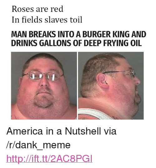 "Deep Frying: Roses are red  In fields slaves toil  MAN BREAKS INTO A BURGER KING AND  DRINKS GALLONS OF DEEP FRYING OIL <p>America in a Nutshell via /r/dank_meme <a href=""http://ift.tt/2AC8PGI"">http://ift.tt/2AC8PGI</a></p>"