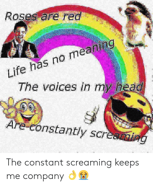 Head, Life, and Meaning: Roses are red  Life has no meaning  The voices in my head  Are constantly screaming The constant screaming keeps me company 👌😭
