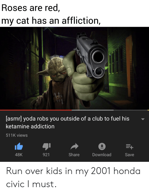 Honda: Roses are red,  my cat has an affliction,  [asmr] yoda robs you outside of a club to fuel his  ketamine addiction  511K views  E+  Share  Download  48K  921  Save Run over kids in my 2001 honda civic I must.