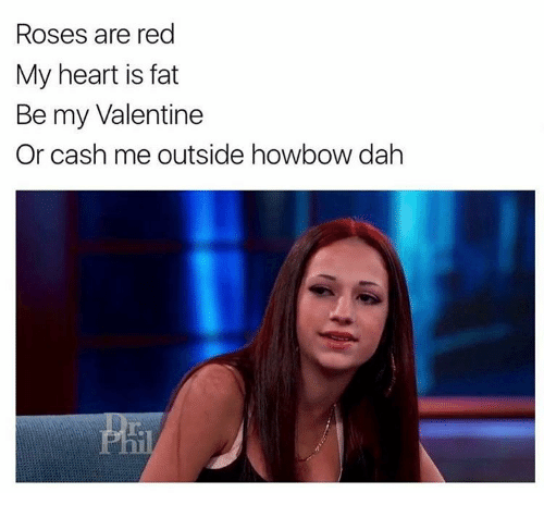 Rose Are Red: Roses are red  My heart is fat  Be my Valentine  Or cash me outside howbow dah