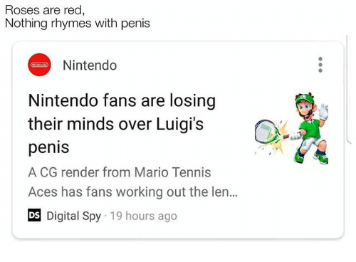 Roses Are Red Nothing Rhymes With Penis Nintendo Nintendo