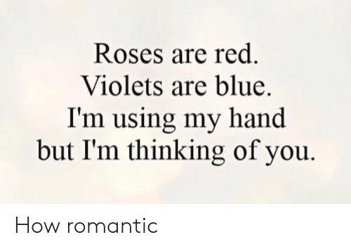 romantic: Roses are red.  Violets are blue.  I'm using my hand  but I'm thinking of you How romantic