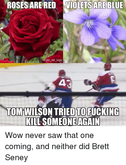 Fucking, Logic, and Memes: ROSES ARE RED  VIOLETS ARE BLUE  nhl_ref_logic  TOM WILSON TRIED TO FUCKING  KILL SOMEONE AGAIN Wow never saw that one coming, and neither did Brett Seney