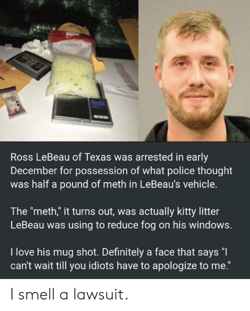 """Definitely, Love, and Police: Ross LeBeau of Texas was arrested in early  December for possession of what police thought  was half a pound of meth in LeBeau's vehicle.  The """"meth,"""" it turns out, was actually kitty litter  LeBeau was using to reduce fog on his windows.  I love his mug shot. Definitely a face that says """"I  can't wait till you idiots have to apologize to me."""" I smell a lawsuit."""