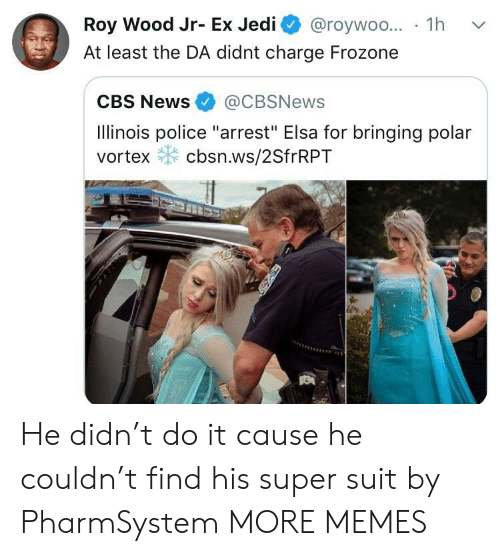 """Elsa: Roy Wood Jr- Ex Jedi @roywoo... 1h v  At least the DA didnt charge Frozone  CBS News@CBSNews  Ilinois police """"arrest"""" Elsa for bringing polar  vortex cbsn.ws/2SfrRPT He didn't do it cause he couldn't find his super suit by PharmSystem MORE MEMES"""