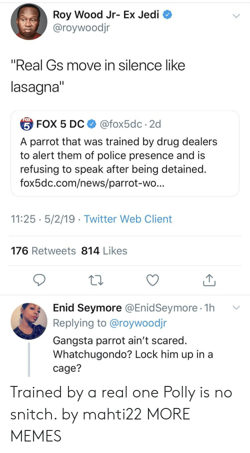 "Dank, Gangsta, and Jedi: Roy Wood Jr- Ex Jedi  @roywoodjr  ""Real Gs move in silence like  lasagna  台FOX 5 DC $ @fox5dc . 2d  A parrot that was trained by drug dealers  to alert them of police presence and is  refusing to speak after being detained  fox5dc.com/news/parrot-wo  11:25 5/2/19 - Twitter Web Client  176 Retweets 814 Likes  Enid Seymore @EnidSeymore 1h v  Replying to @roywoodjr  Gangsta parrot ain't scared  Whatchugondo? Lock him up in a  cage? Trained by a real one Polly is no snitch. by mahti22 MORE MEMES"