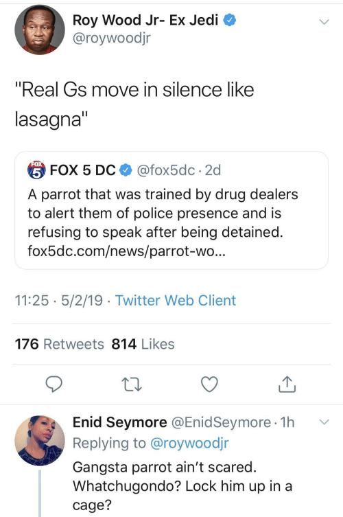 "Gangsta, Jedi, and News: Roy Wood Jr- Ex Jedi  @roywoodjr  ""Real Gs move in silence like  lasagna  台FOX 5 DC $ @fox5dc . 2d  A parrot that was trained by drug dealers  to alert them of police presence and is  refusing to speak after being detained  fox5dc.com/news/parrot-wo  11:25 5/2/19 - Twitter Web Client  176 Retweets 814 Likes  Enid Seymore @EnidSeymore 1h v  Replying to @roywoodjr  Gangsta parrot ain't scared  Whatchugondo? Lock him up in a  cage?"