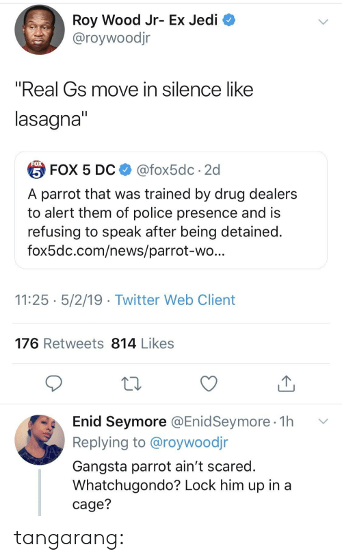 """gangsta: Roy Wood Jr- Ex Jedi  @roywoodjr  """"Real Gs move in silence like  lasagna  台FOX 5 DC $ @fox5dc . 2d  A parrot that was trained by drug dealers  to alert them of police presence and is  refusing to speak after being detained  fox5dc.com/news/parrot-wo  11:25 5/2/19 - Twitter Web Client  176 Retweets 814 Likes  Enid Seymore @EnidSeymore 1h v  Replying to @roywoodjr  Gangsta parrot ain't scared  Whatchugondo? Lock him up in a  cage? tangarang:"""