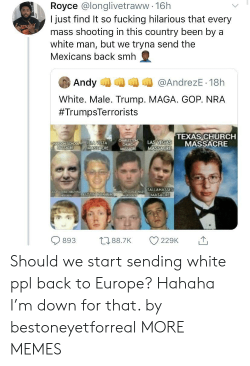 Maga: Royce @longlivetraww 16h  I just find It so fucking hilarious that every  mass shooting in this country been by a  white man, but we tryna send the  Mexicans back smh  Andy  @AndrezE 18h  White. Male. Trump. MAGA. GOP. NRA  #TrumpsTerrorists  TEXAS CHURCH  MASSACRE  CHARLESTON  CHURCH  MASSA  LAS VEGAS  MASSACRE  ISLA CISTA  MASSACRE  FARERY SOHO  SACKE  TALLAHASSES  MASAGRE  jHAO LENAT  ZON  AUSTIN BOMBER  893  t188.7K  229K  10 Should we start sending white ppl back to Europe? Hahaha I'm down for that. by bestoneyetforreal MORE MEMES