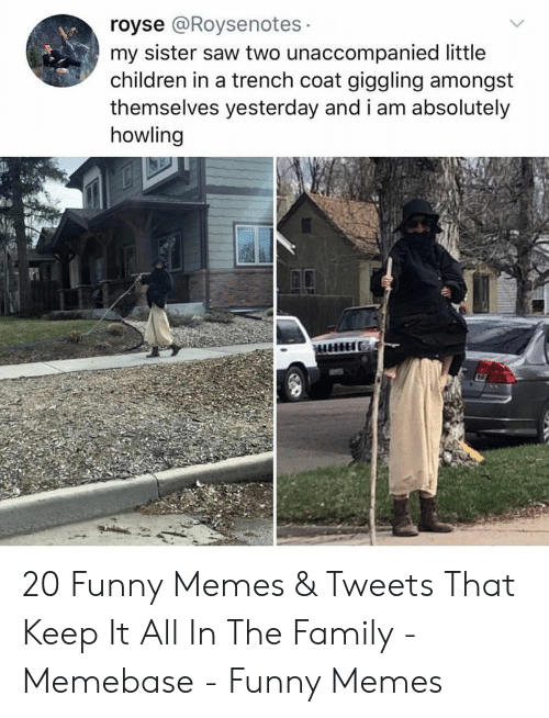 memebase: royse @Roysenotes  my sister saw two unaccompanied little  children in a trench coat giggling amongst  themselves yesterday and i am absolutely  howling 20 Funny Memes & Tweets That Keep It All In The Family - Memebase - Funny Memes