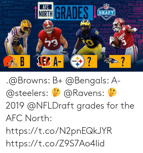 San Francisco 49ers, Memes, and Nfl: rS  KIngS  RS BILLS R  CIANT  AFC  NORTH  NFL  49ERS  DRAFT  DRAFT  BRONC  2019  ZONA  RDINALS PAL  eelers  PAT  AS i  EARS BR  9  İDTS .@Browns: B+ @Bengals: A- @steelers: 🤔 @Ravens: 🤔  2019 @NFLDraft grades for the AFC North: https://t.co/N2pnEQkJYR https://t.co/Z9S7Ao4lid
